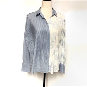 A New Day Stripe/Floral Blue/ Cream contrast Top M